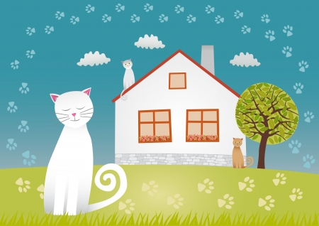 sweet dreams: Cats house Illustration