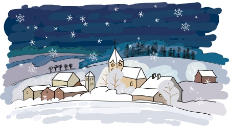 Winter village  イラスト・ベクター素材