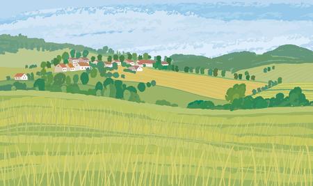 village house: Green fields