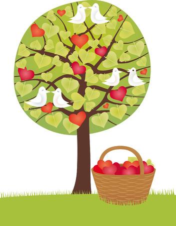 linden tree: Hearts basket