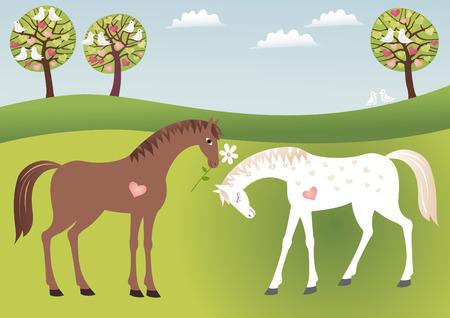 profess: Horses in love Illustration