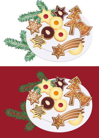 Plate of Christmas cookies Vector