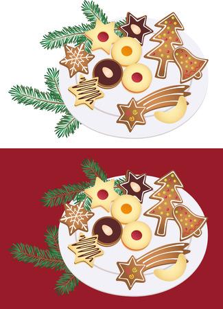 bułka maślana: Talerz ciasteczka świąteczne Ilustracja