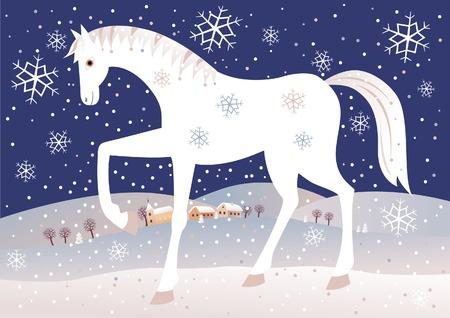 Christmas horse Vector