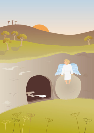 tomb empty: Empty tomb Illustration