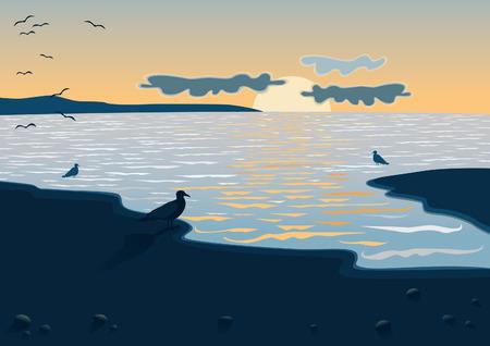 seacoast: Sea at the sundown Illustration