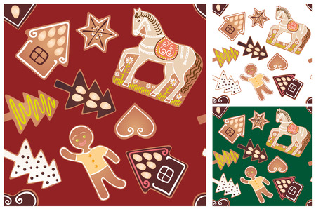 Seamless gingerbread pattern Vector