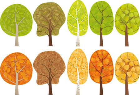 Set di alberi frondosi Vettoriali
