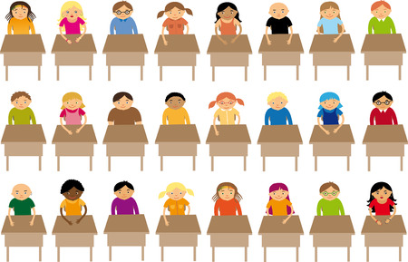 multi ethnic group: At school Illustration