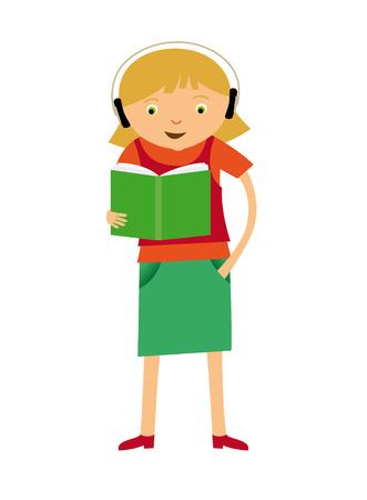 aloud: Girl reading Illustration