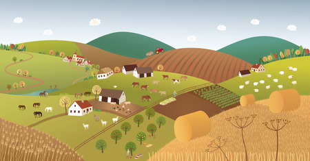 ladder  fence: Fall farmer landscape