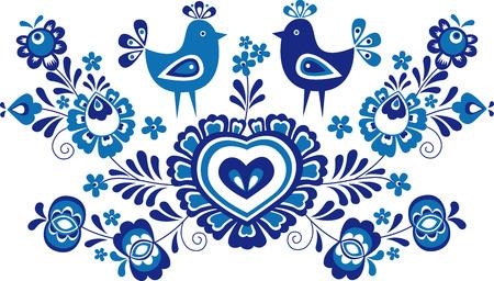 Folk Vereenvoudigde folk ornamenten en versieringen van Slovacko gebied in een blauwe versie Stockfoto - 63802011