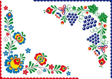 Folk Folk ornaments and ornaments from Slovacko area Vettoriali