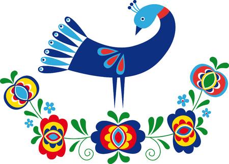oiseau dessin: conception d'ornement inspiré par les gens de la Moravie du Sud