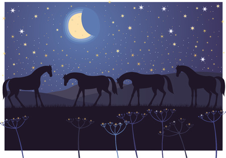 Horses resting During the night under the starry sky Иллюстрация