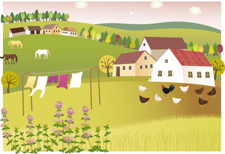 Fragrance of summer home. illustration of peaceful and sweet-scented summer village. Иллюстрация