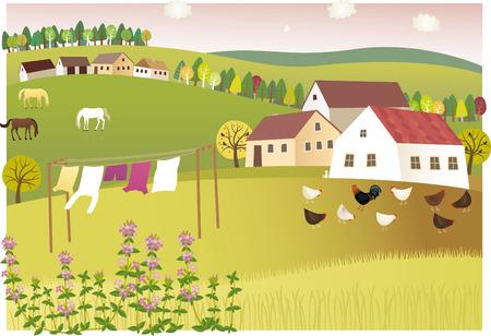 homestead: Fragrance of summer home. illustration of peaceful and sweet-scented summer village. Illustration