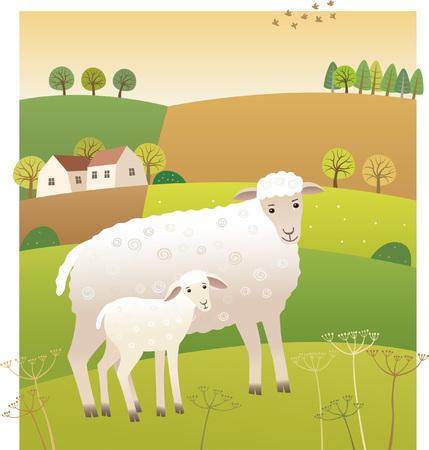 子羊と羊  イラスト・ベクター素材