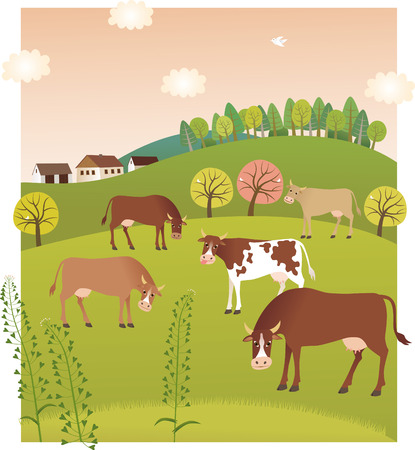 春の牛  イラスト・ベクター素材