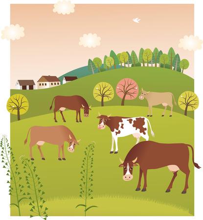 Spring cows Фото со стока - 63803589