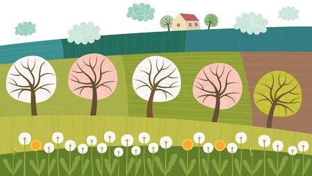 木と畑  イラスト・ベクター素材