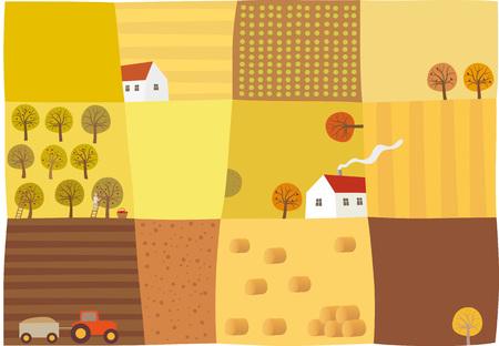 Herbstsaison. Eine Luftaufnahme der Felder Während der Herbstsaison. Illustration. Standard-Bild - 63803628