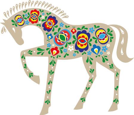 Pferd mit mährischen Volksschmuck Standard-Bild - 70791891