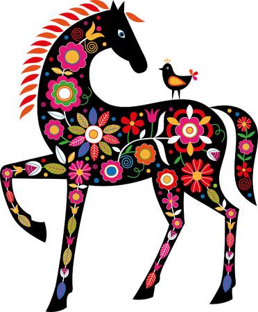 Koń z słowackimi ludowymi ozdobami Ilustracje wektorowe