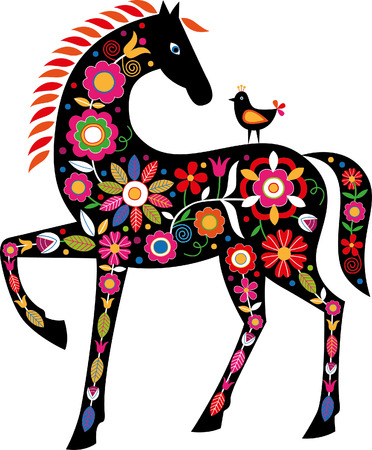 Horse with Slovak folk ornaments