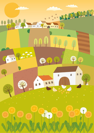 Spring agriculture landscape
