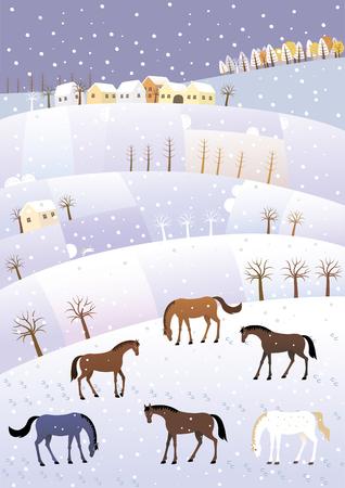 Winter Hügel Standard-Bild - 76355642