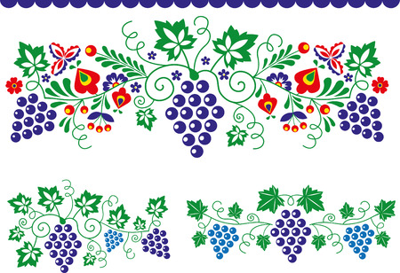 Folk ornaments with grapes