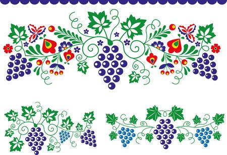 Ozdoby ludowe z winogronami Ilustracje wektorowe