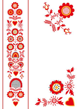 Folk ornament from South Bohemia, vector floral pattern of traditional embroidery