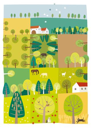 Trees on farm land.  イラスト・ベクター素材