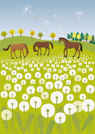 Dandelions and horses vector illustration