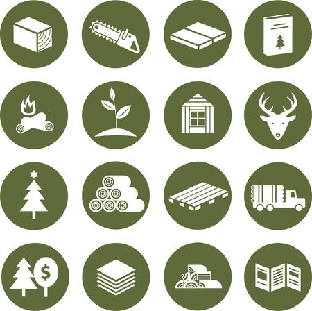 Set of icons with theme of forest, wood and hunting