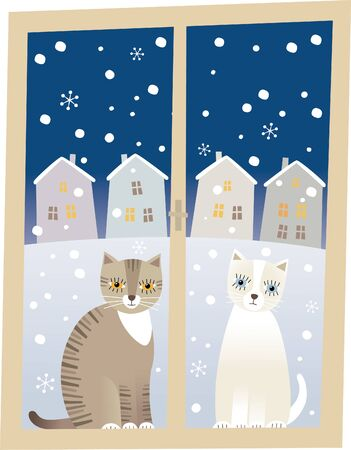 Vector illustration of two cats sitting at the window watching inside