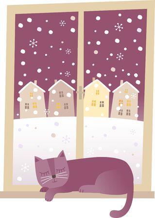 Vector illustration of cat sleeping at the window