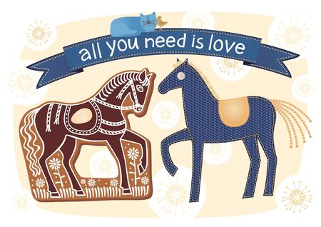Vector illustration. Crazy composition of denim and gingerbread horses, cat and bird.