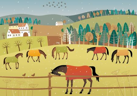 Vector illustration of grazing horses in rainy weather. Vectores
