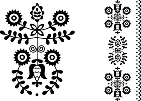 Vector image of folk embroidery from Povazska Bystrica area Vectores