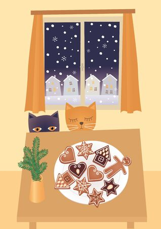 Vector illustration of two cats looking at christmas gingerbreads.