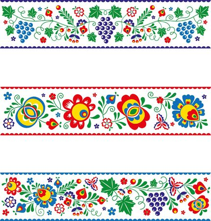 Vector slovak (slovacko) folk ornaments in strips.