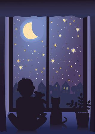 Vector image of little boy with his teddy bear and cat looking at the starry sky.