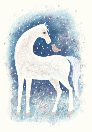 Digital aquarelle. Horse and bird in winter snowy landscape Foto de archivo