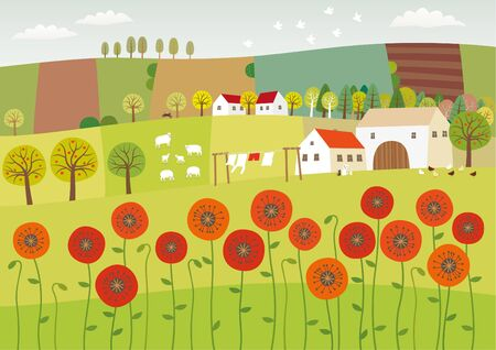 Vector illustration of summer landscape with poppies and clean nature