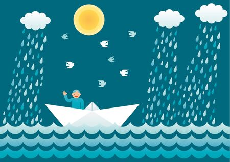 Sailor on a paper boat waving and smiling. Vector simple illustration.
