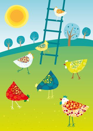 Chicken trip. Vector illustration of colored happy hens.