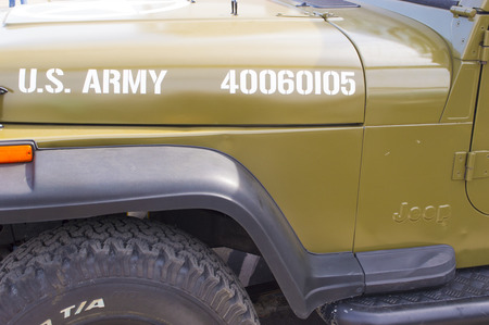 u s: Detail of vintage U. S. Army staff car Editorial
